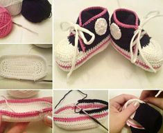 Crochet Converse Booties Free Pattern - loads of brilliant patterns on our site including Adult. Crochet Bebe, Baby Girl Crochet, Crochet Baby Booties, Crochet Slippers, Crochet For Kids, Free Crochet, Baby Converse Shoes, Crochet Converse, Newborn Crochet Patterns