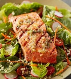 15 Ideal Protein Recipes - entrees Best Picture For salmon recipes dijon For Your Taste You are look Grilled Salmon Salad, Salmon Salad Recipes, Grilled Salmon Recipes, Salad Dressing Recipes, Fish Recipes, Seafood Recipes, Salad Dressings, Dinner Recipes, Easy Cooking
