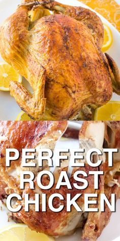 This is the best roast chicken recipe ever and is perfect for your Sunday roast. chicken recipes Perfect Roast Chicken {tender flavorful meat and crispy skin! Best Roast Chicken Recipe, Baked Whole Chicken Recipes, Best Roasted Chicken, Perfect Roast Chicken, Easy Roast Chicken, Whole Chicken In Oven, Cooking Whole Chicken, Stuffed Whole Chicken, Baked Chicken