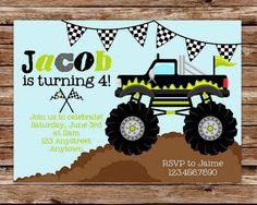 Printable Monster Truck Birthday Party Invitation. $12.50, via Etsy.