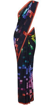 Black sari with multicoloured square pattern by SATYAPAUL. Indian Attire, Indian Wear, Indian Outfits, Indian Clothes, Salwar Kameez, Dhoti Saree, Drape Sarees, Saree Blouse, Satya Paul