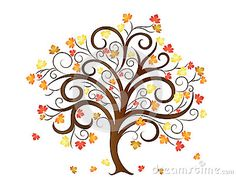 Vector Illustration of an Autumn Tree with Autumn Leaves.