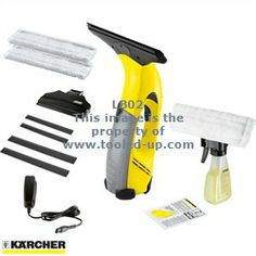 Karcher Window Vacuum Cleaner with Spray Bottle, Pad, Small Nozzle, Spare Blades & Extra Pads : Tooled-Up.com
