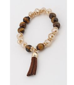 Brown Mixed Beads Stretch Bracelet w/Gold Tone Spacers & Faux Suede Tassel #Unbranded #Stretch