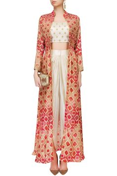 Anoli Shah presents Off white embroidered crop top and dhoti pants with red printed jacket available only at Pernia's Pop Up Shop. Western Dresses, Indian Dresses, Pakistani Dresses, Indian Wedding Outfits, Indian Outfits, Indian Attire, Indian Wear, Kurta Designs, Blouse Designs
