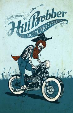 Bluegrass Hill Bobber Motorcycles Poster Design By - MartinHofmann.com http://www.cafepress.com/hillbobber