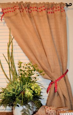 Ditch the sewing machine just this once for a super easy DIY No-Sew burlap curtain for the holidays. :)