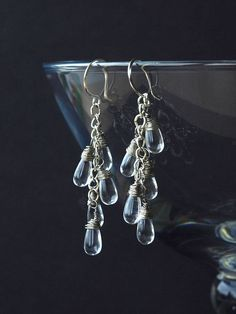 CASCADE glass and chain handmade rain drop by HandmadeEarringsUk