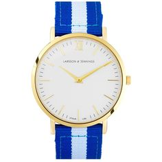 Larsson & Jennings 'Kulor' Nylon Strap Watch, 40mm ($340) ❤ liked on Polyvore featuring jewelry, watches, colorful watches, roman numeral watches, polish jewelry, stainless steel watches and 2 tone watches