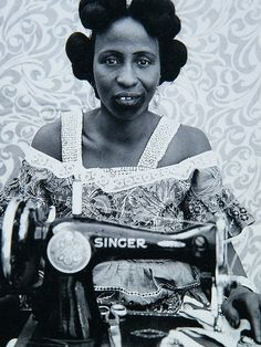 Sister with a Singer sewing machine. photo by seydou keita