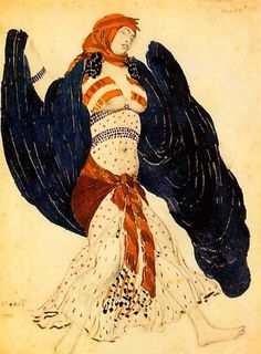 Blog-1909 womens fashions-Costume design by Leon Bakst for Cleopatra, 1909 2