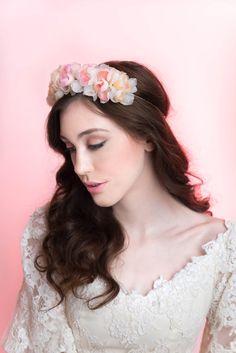 Wedding Hair Accessory Bridal Halo Silk Organza by MilaKolitsova