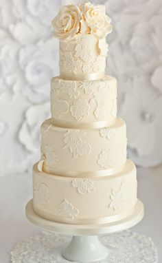 Ivory Lace Wedding Cake See more here: http://www.sugarruffles.com