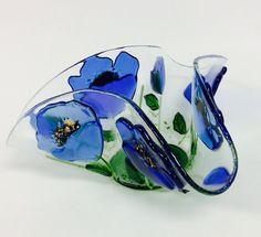 Fundido vidrio vela titular/votivas amapola azul