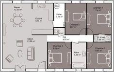 Modèle et plan de maison : Opaline - m² - Global Pins! The Plan, How To Plan, House Blueprints, Bungalow, House Plans, Sweet Home, New Homes, Floor Plans, House Design