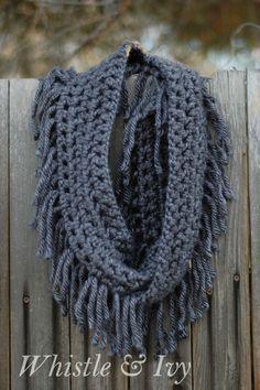 Easy Crochet Free Crochet Scarf Pattern with Fringe Knit Or Crochet, Crochet Scarves, Crochet Shawl, Crochet Crafts, Easy Crochet, Crochet Projects, Chunky Crochet Scarf, How To Crochet A Scarf, Crochet Infinity Scarf Free Pattern