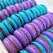 Purple and blue dark chocolate Macarons