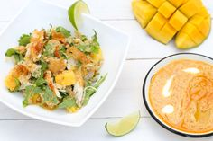 Mouth-watering chicken, quinoa and mango salad with a red curry dressing. Healthy, quick and absolutely delicious. Visit our site for more! Warm Chicken Salad, Mango Salad, Quinoa, Cantaloupe, Great Recipes, Curry, Dressing, Dishes, Fruit