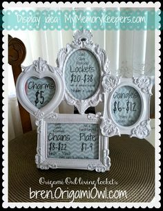 Find old picture frames spray paint and put a colored background for a creative way to show prices!