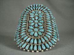 Towering Navajo Turquoise argent Bracelet Vintage