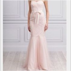 monique lhuillier gown - one of a kind One if a kind with GORGEOUS belt sewed into the dress. This dress will make you feel like a princess. Only worn once! Great value and nothing else out there like it! Monique Lhuillier Dresses Prom
