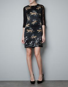 pretty hot - long sleeve version with higher neck of what we worked today SILK PRINTED DRESS - Dresses - Woman - ZARA