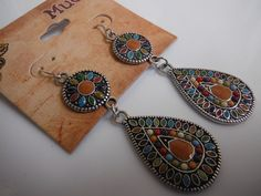 MUDD Boho Chic Earrings Antique-Looking Silver Multi-Color