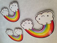 Kawaii rainbow and clouds sticker set of three made from original artwork lolita fairy kei cute (1.10 GBP) by Drixproductions