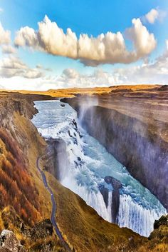 Here, you can't help but experience the sublime view of the Hvítá river mysteriously disappearing into the crevice of two different plunges.