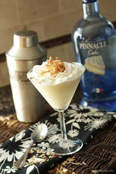 Better than Sex Caketini - ¼ cup Pinnacle Cake Flavored Vodka ¼ cup pineapple juice ¼ cup coconut milk creamer 1 teaspoon French vanilla pudding mix Whipped cream Toasted coconut Summer Drinks, Cocktail Drinks, Fun Drinks, Holiday Drinks, Alcoholic Beverages, Sweet Cocktails, Party Drinks, Martini Recipes, Cocktail Recipes