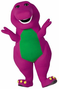 "Barney the dinosaur—I watched the show and carried/slept with the plush toy. ""I love you, you love me..."""