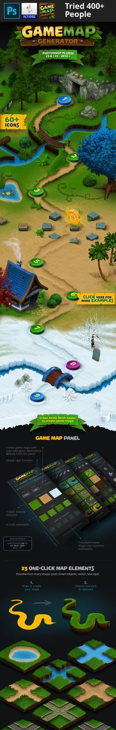 3d, action, adventure, android, animation, background, desert, game, grass, ice, isometric, lake, lava, level, map, match-3, mmorpg, mobile, path, puzzle, racing, river, role playing, rpg, snow, strategy, street, textures, tileable, tower defense Game Map Generator Extension panel for Photoshop® CS6 / CC-2014 / CC-2015 +  Update History November 05, 2016  - CC-2017 Installer Update  Build your own map or background for your game! By using the Game Map Generator it is as easy and fast as…