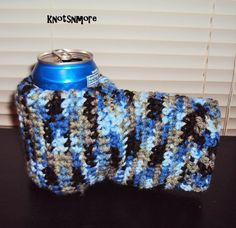 Keep your hands warm and your drinks cold this winter with a crochet drink mitt. Want this with a mitten? Crochet Men, Crochet Hats, Mens Valentines Gifts, Winter Essentials, Ear Warmers, Crocs, Mittens, To My Daughter, Great Gifts