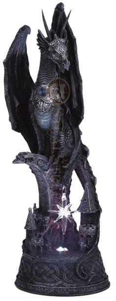 Dragon w/ Lighting LED Crystal Ball Collectible Figurine Statue Model