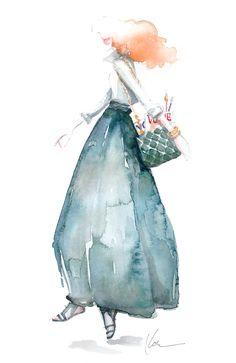 Grace Coddington illustration on Paper Fashion Paper Fashion, Fashion Art, Fashion Models, Chiaroscuro, Illustration Sketches, Art Illustrations, Fashion Illustrations, Watercolor Illustration, Watercolor Painting