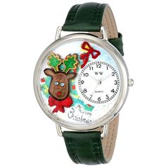 Whimsical Unisex Christmas Reindeer Hunter Green Leather Watch. #Christmas #reindeer