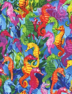 Timeless Treasures Sea Seahorse Coral Scenic 100/% Cotton Fabric by the yard