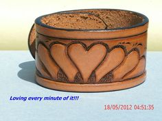 Hand tooled cuff by AcrossLeather on Etsy, $22.50