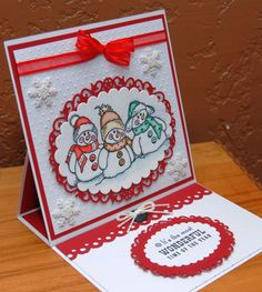 Christmas Card using Stampendous  Snowman Friends stamp/Tim Holtz distress markers