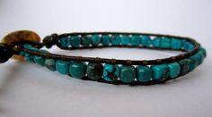 Genuine Turquoise Brown Leather Wrap Bracelet