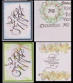 My Calligraphy CAS cards, Quietfire Design quote/sentiment stamps - http://yogiemp.blogspot.ca/2014/11/mc-nov14-merry-xmas-tree-textured-words.html