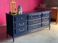 Faux Bamboo Dresser Lacquered in Old Navy Ready to ship image 4 Blue Painted Furniture, Bamboo Furniture, Vintage Furniture, Diy Furniture, Bamboo Chairs, Bedroom Furniture, Blue Chests, Dresser Refinish, Navy Paint