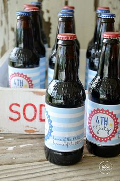 4th of July Bottle Labels - free printables - the idea room