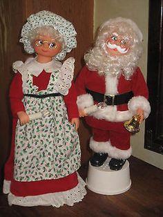 and Mrs. Vintage Santa Claus, Vintage Santas, Santa Figurines, Christmas Decorations, Holiday Decor, Felt Christmas, Elf On The Shelf, Chiffon, Dolls