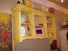 Yellow distressed wall shelf