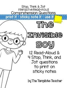 Reading Comprehension questions for the story, The Invisible Boy by Trudy Ludwig. Brought to you by The Template Teacher Reading Resources, Reading Strategies, Teacher Resources, Teaching Ideas, Activities For Boys, Book Activities, Comprehension Questions, Reading Comprehension, The Invisible Boy