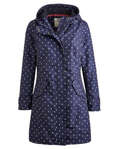 Joules Womens Waterproof Jacket, Navy Spot.