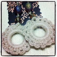 Orecchini crochet angora rosa cipria