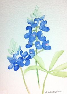 Simple Bluebonnets, Greeting Cards by Nan Henke 4 1/4 x 5 1/2 inch   (a set of 4) Blank on Etsy, $5.00