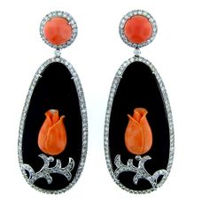 Onyx, Coral, and Diamond Earrings